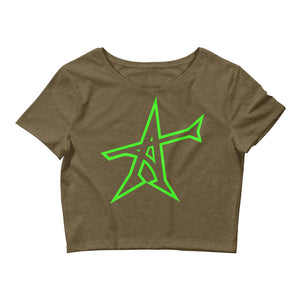 """ALL-IN"" Women's  Crop Tee (neon green print)"