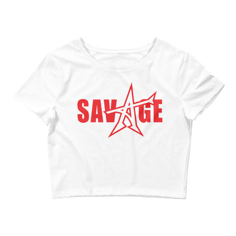 """SAVAGE"" crop top (red print)"