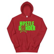 """HUSTLE HARDER"" Hoodie (neon-green print)"