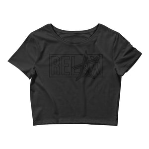 """RELAX"" Women's Crop Tee (black print)"