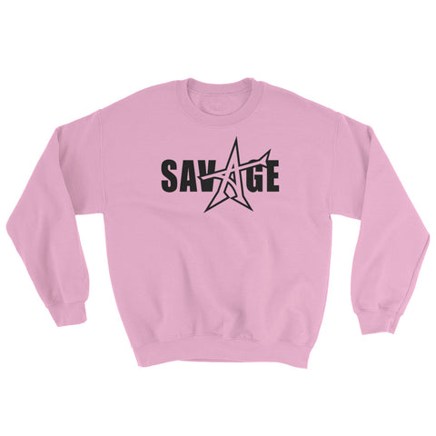 """SAVAGE"" Sweatshirt Light Pink (black print)"