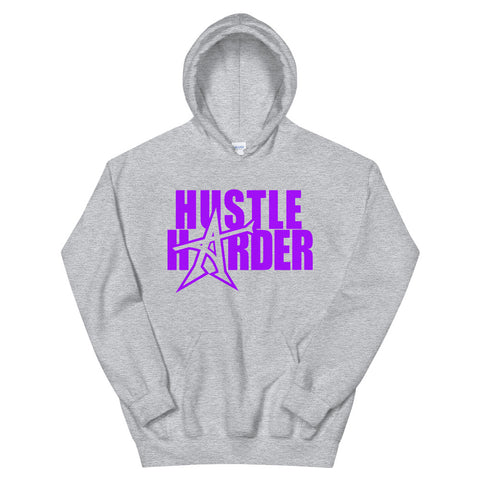 """HUSTLE HARDER"" Hoodie (purple print)"