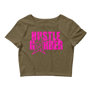 """HUSTLE HARDER"" Women's  Crop Tee (pink print)"