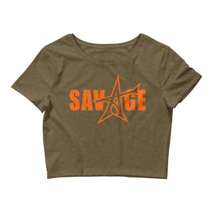 """SAVAGE"" crop top (orange print)"