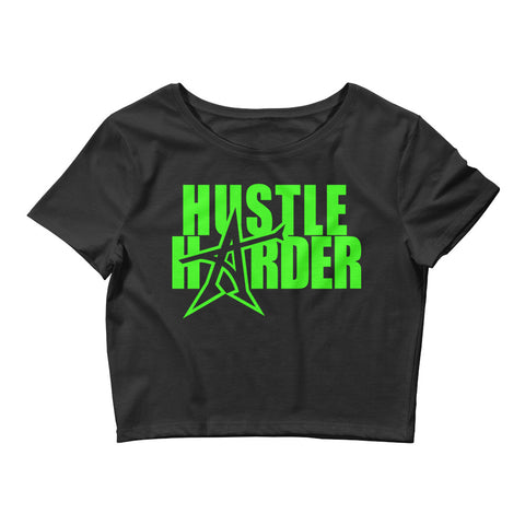 """HUSTLE HARDER"" Women's  Crop Tee (neon print)"