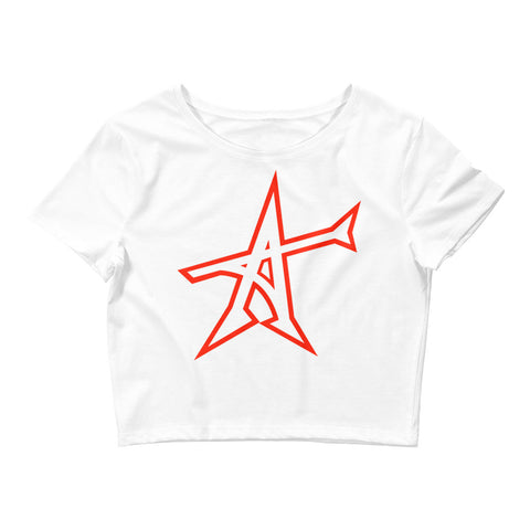 """ALL-IN"" Women's  Crop Tee (red print)"