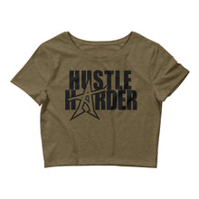 """HUSTLE HARDER"" Women's  Crop Tee (black print)"