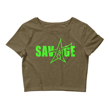 """SAVAGE"" crop top (neon-green print)"
