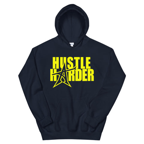 """HUSTLE HARDER"" Hoodie (yellow print)"