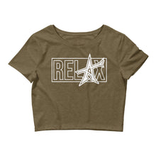 """RELAX"" Women's Crop Tee (white print)"