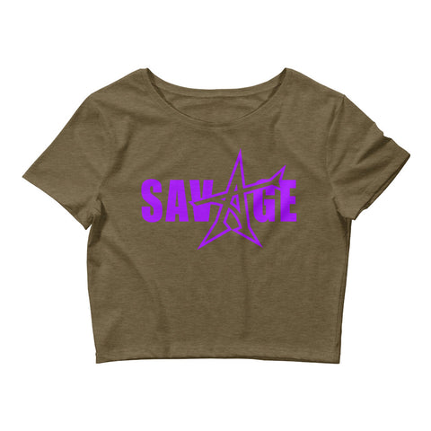 """SAVAGE"" crop top (purple print)"