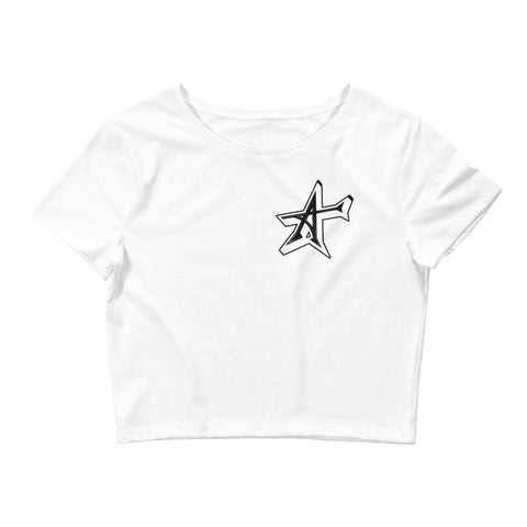 """ALL-IN"" 3D Women's Crop Tee (black print)"