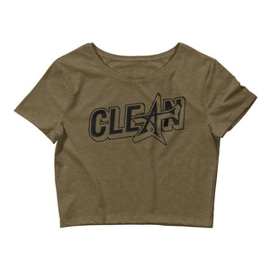 """CLEAN"" Women's Crop Tee (black print)"