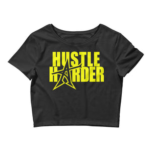 """HUSTLE HARDER"" Women's  Crop Tee (yellow print)"