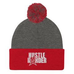 """HUSTLE HARDER"" Pom-Pom Beanie (white print)"