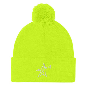 """ALL-IN"" Pom-Pom beanie (white print)"