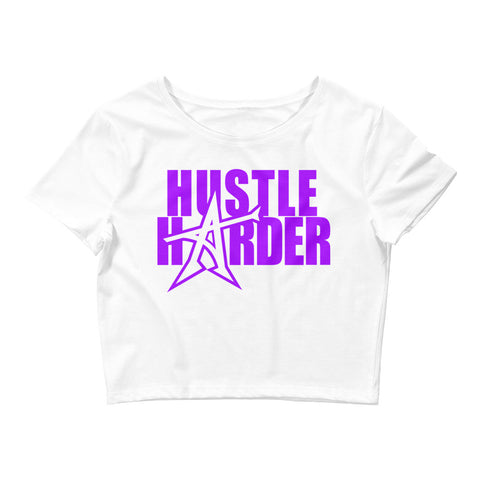 """HUSTLE HARDER"" Women's  Crop Tee (purple print)"