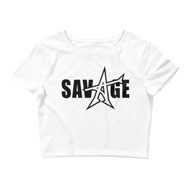 """SAVAGE"" crop top (black print)"