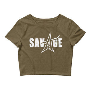 """SAVAGE"" crop top (white print)"