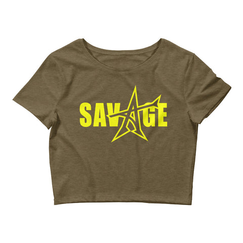 """SAVAGE"" crop top (yellow print)"