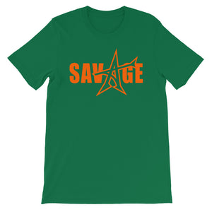 """SAVAGE"" T-shirt (neon orange print)"