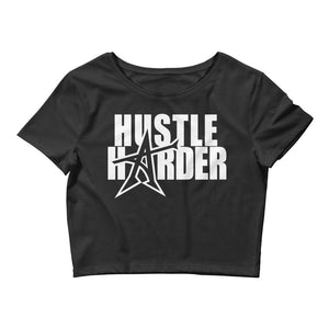 """HUSTLE HARDER"" Women's  Crop Tee (White print)"