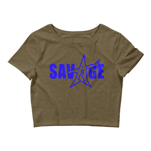 """SAVAGE"" crop top (blue print)"