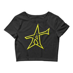 """ALL-IN"" Women's  Crop Tee (yellow print)"