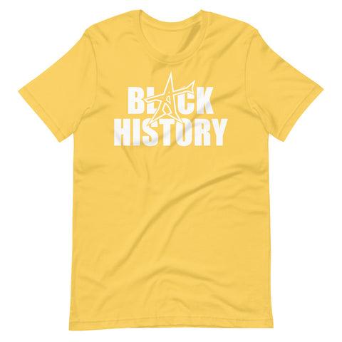 """BLACK HISTORY"" Short-Sleeve Unisex T-Shirt (white print)"