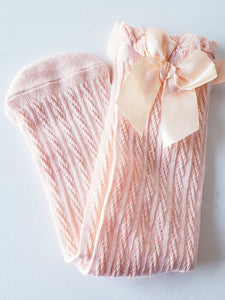 Size Large - Boot Socks with dainty bow - RTS