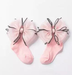 Sheer Ribbon bow socks - RTS