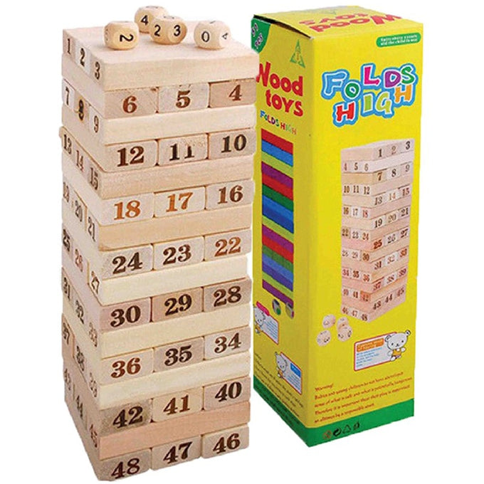 Jenga Number Wooden Stacking Tower Game for Kids & Adults-PX-10748