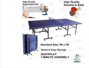 International Standard Foldable Table Tennis Table Standard Size 9'x5' with Locking Wheels, Net, Rackets Set and Balls