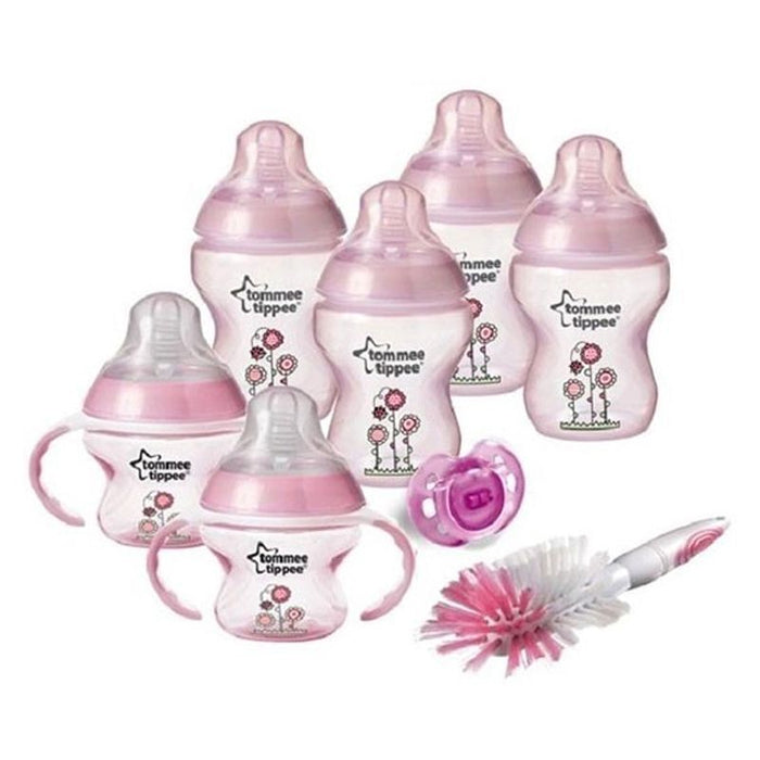 TOMMEE TIPPEE-DECORATED BOTTLE STARTER SET (Pink)