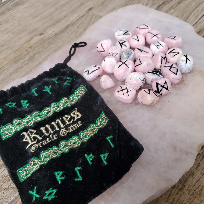 Rhodonite Rune Set