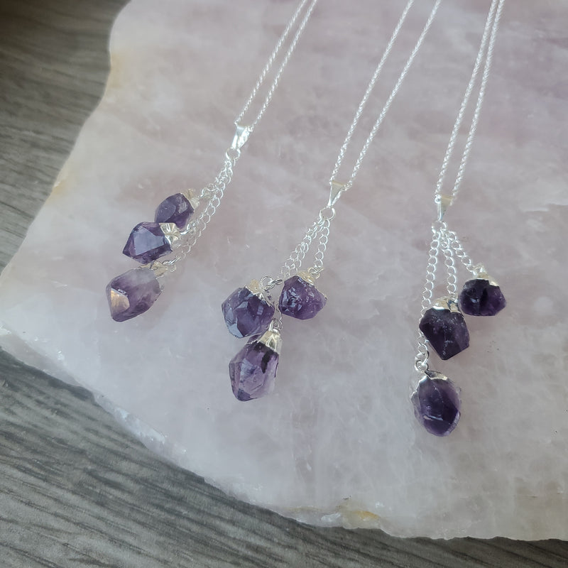 Amethyst Triple Dangle Pendant - Silver
