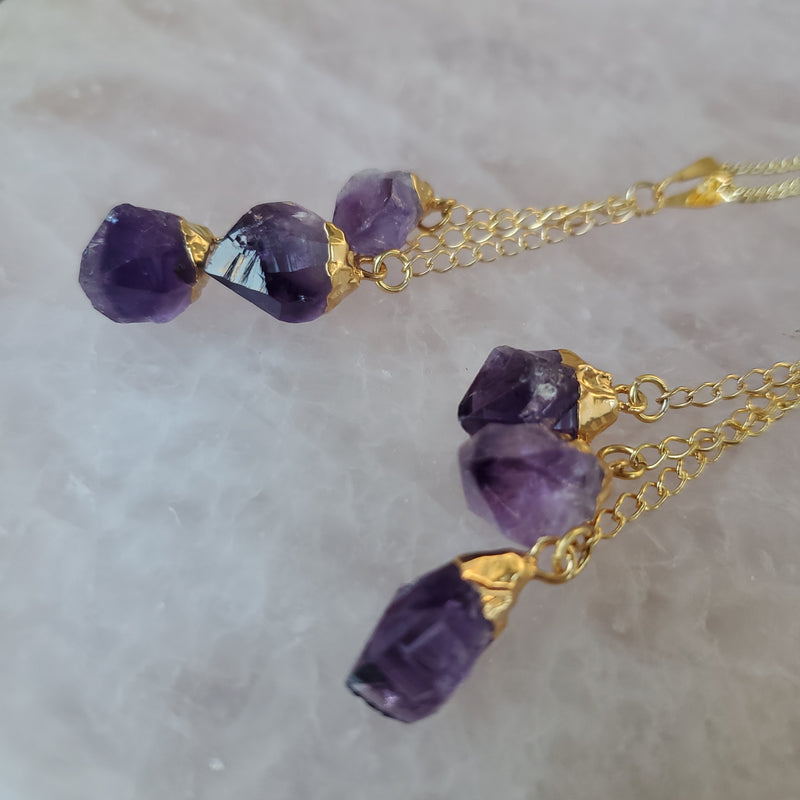 Amethyst Triple Dangle Pendant - Gold