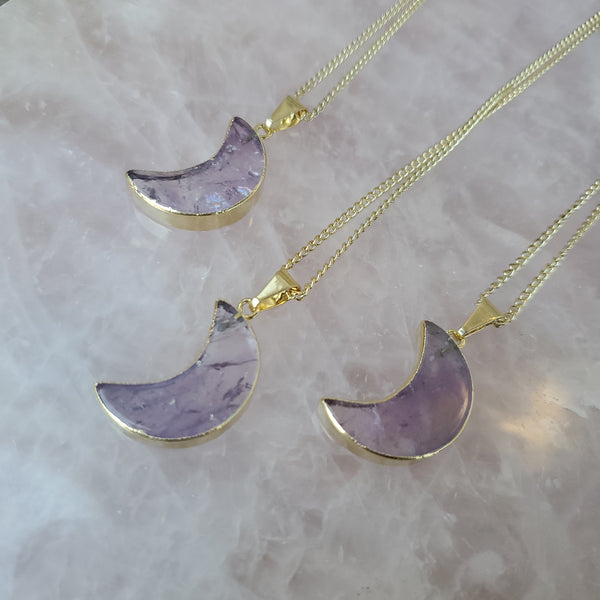 Amethyst Moon Necklace - Gold