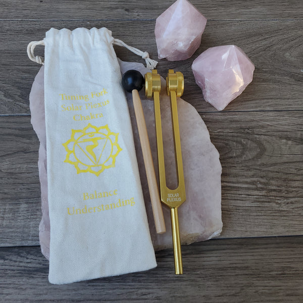 Solar Plexus Chakra Tuning Fork with Mallet & Bag