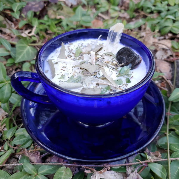 Cleanse Spell Candle - Blue Tea Cup & Saucer