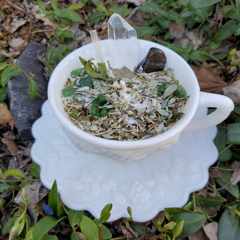 Cleanse Spell Candle - Milk Glass Tea Cup & Saucer