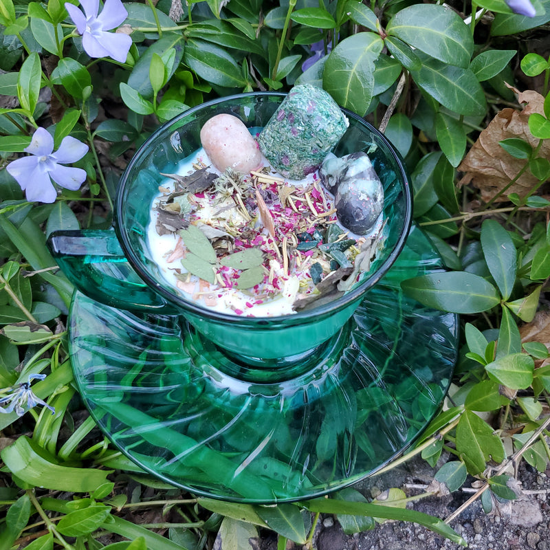 Beltane Ritual Spell Candle - Rock Swirl Glass Tea Cup & Saucer