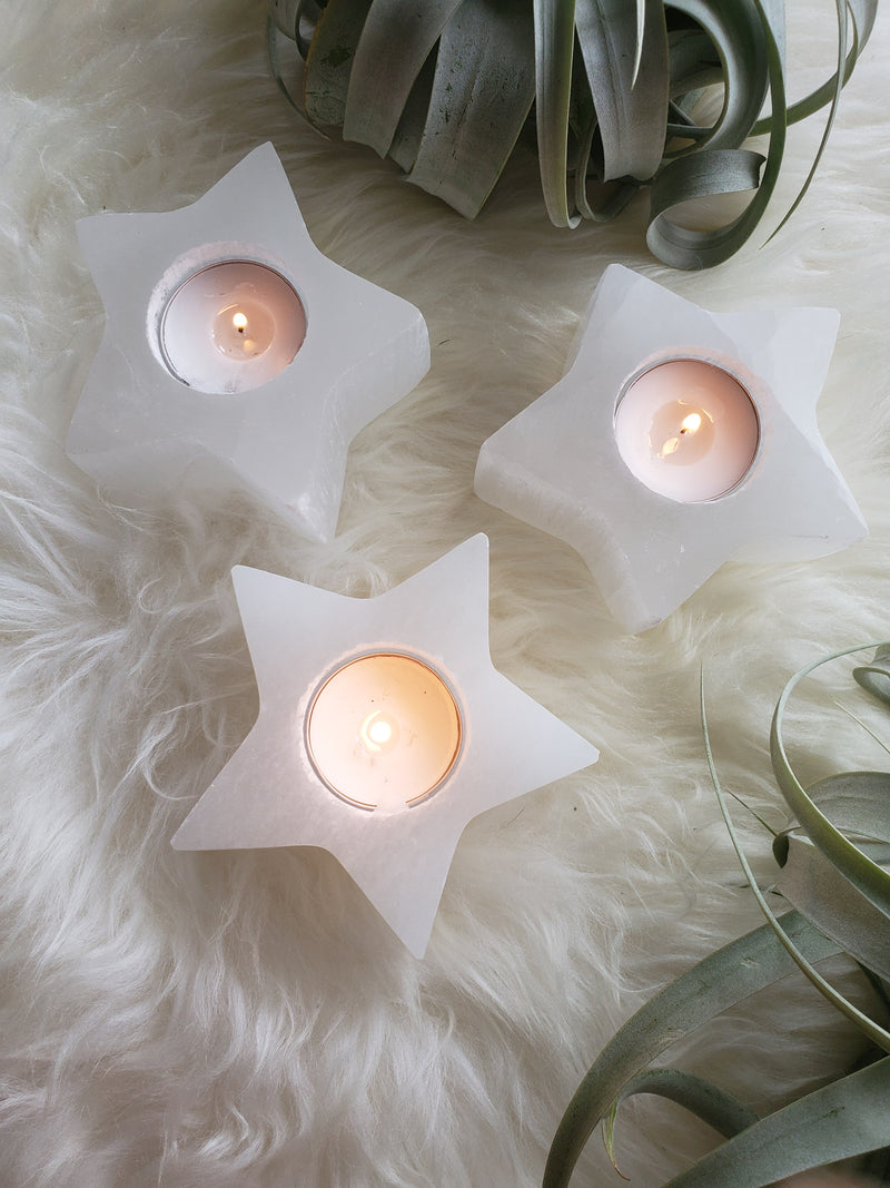 Selenite Star Candle Holder