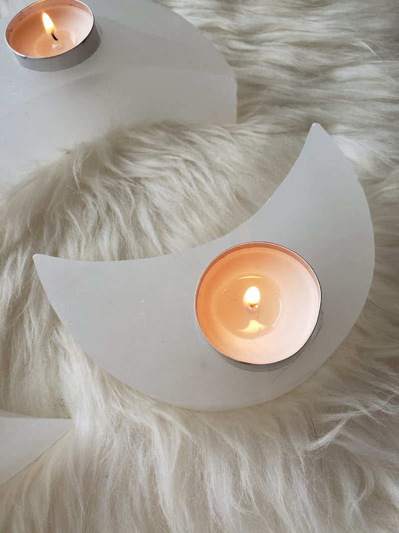 Selenite Moon Tea Light Holder