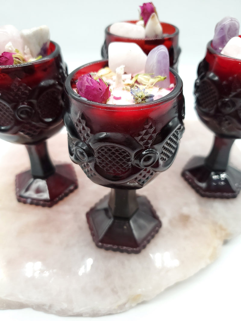 Self Love Spell Candle - Vintage Ruby Red Avon Cape Code Wine Goblet (Small)