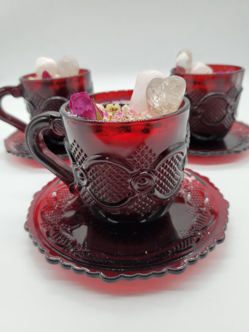 Self Love Spell Candle - Vintage Ruby Red Avon Cape Cod Tea Cup & Saucer