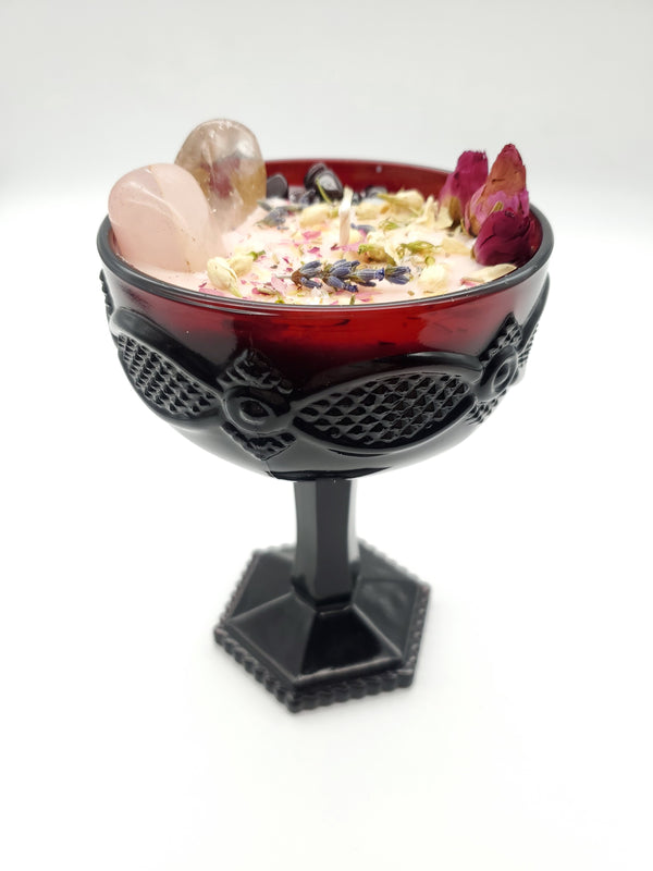 Self Love Spell Candle - Ruby Red Avon Cape Cod Champagne Saucer