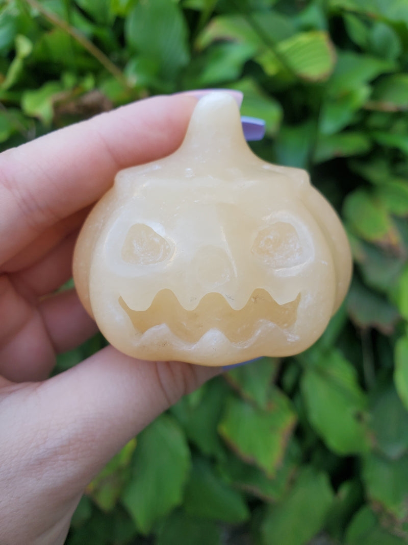 Orange Calcite Angry Face Pumpkin