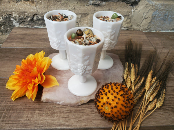 Mabon Fall Equinox Ritual Candle - Antique Milk Glass Goblet