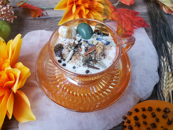 Mabon Fall Equinox Ritual Candle - Antique Iridescent Carnival Glass Tea Cup & Saucer